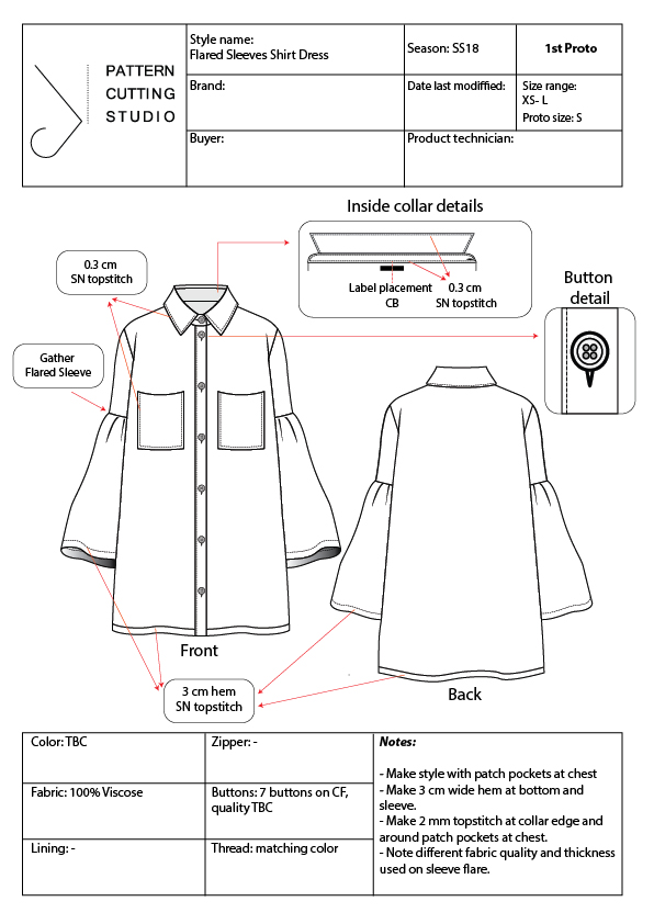 Apparel Tech Packs Spec Sheets Detail Sketch